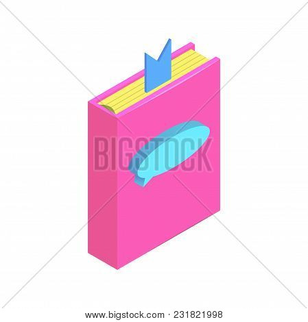 Isometric Chat Bubble On Book Simple Icon. Book Citation Concept Vector Illustration