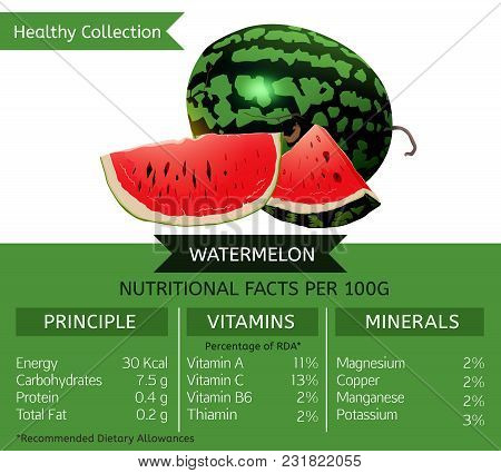 The Watermelon Health Benefits. Vector Illustration With Useful Nutritional Facts. Essential Vitamin