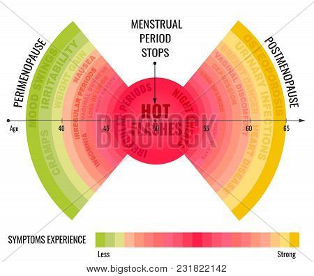 Stages and symptoms of menopause. Estrogen level average percentage from the birth to the age of seventy years. Beautiful vector illustration. Medical infographic useful for educational poster design. poster
