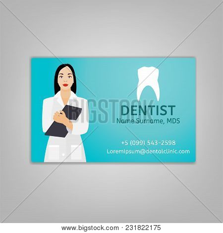 Doctors Id Card With Dentist Image. Medical Specialist Badge Template For Medicine, Emergency And He