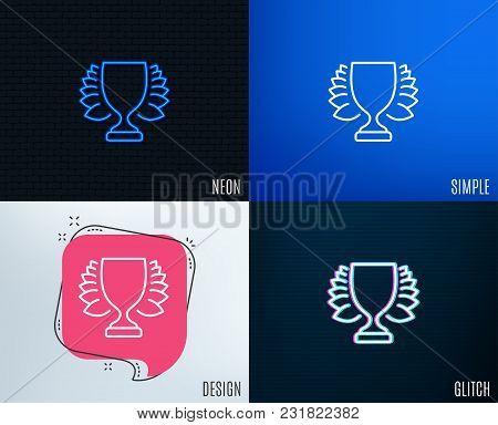 Glitch, Neon Effect. Award Cup Line Icon. Winner Trophy With Laurel Wreath Symbol. Sports Achievemen
