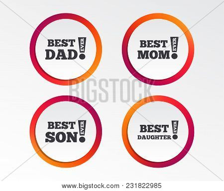 Best Mom And Dad, Son And Daughter Icons. Awards With Exclamation Mark Symbols. Infographic Design B