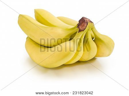 Cluster Of Ripe Yellow Bananas On A White Background