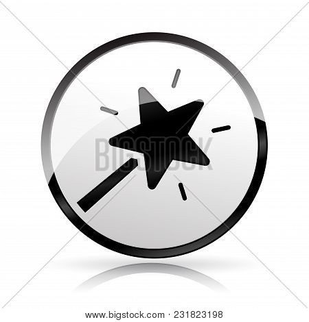 Illustration Of Magic Wand Icon On White Background