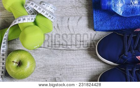 Fitness Accessories. Sports Dumbbells Sneakers Sports Shoes And