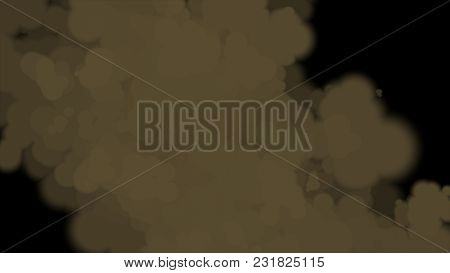 Smoke Effect On Black Background, Big Brown Smoke Wind Black Background, Fog Or Smoke On Black Backg
