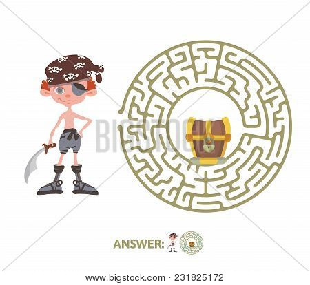 Children's Maze With Pirate And Treasure. Puzzle Game For Kids, Vector Labyrinth Illustration.
