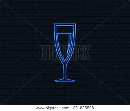 Neon Light. Glass Of Champagne Sign Icon. Sparkling Wine. Celebration Or Banquet Alcohol Drink Symbo