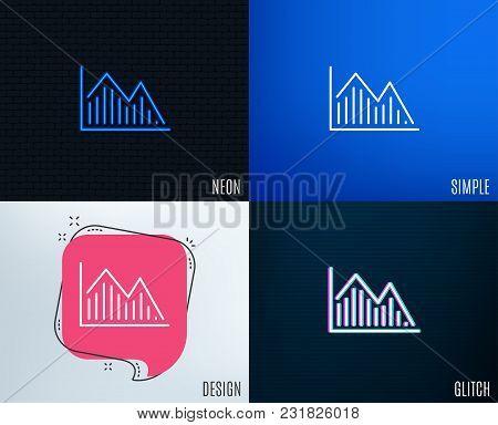 Glitch, Neon Effect. Financial Chart Line Icon. Economic Graph Sign. Stock Exchange Symbol. Business