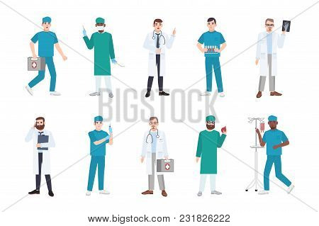 Collection Of Male Medical Workers Dressed In White Coats And Scrubs - Doctor Or Physician, Paramedi