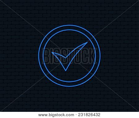 Neon Light. Check Mark Sign Icon. Yes Circle Symbol. Confirm Approved. Glowing Graphic Design. Brick