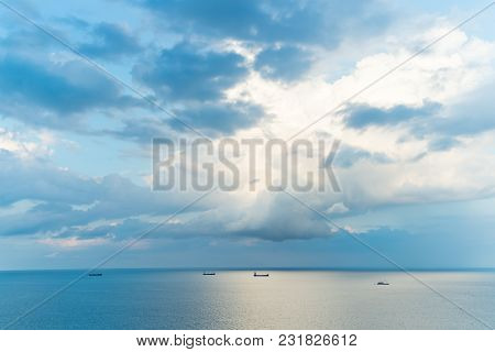 Sea Water And Sky Horizon Line. Seascape On Cloudy Sky Background. Wanderlust, Travel, Trip. Summer