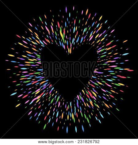 Colorful Sharp Oval Sequins Glitter Round Ring Background Heart. Firework Burst Vector Illustration.
