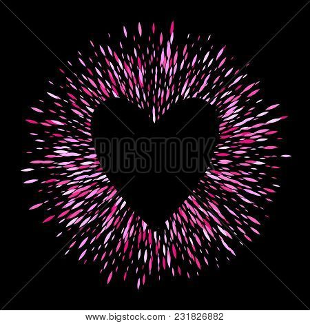 Pink Sharp Oval Sequins Glitter Round Ring Background With Heart. Firework Burst Vector Illustration