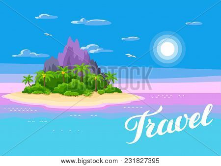 Illustration Of Tropical Island In Ocean. Landscape With Ocean, Palm Trees And Rocks. Travel Backgro