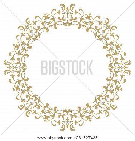 Decorative Frame. Elegant Vector Element For Design In Eastern Style, Place For Text. Golden Outline