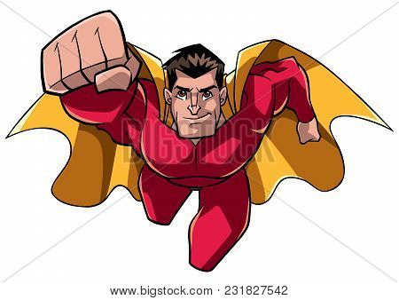 Front View Full Length Illustration Of A Determined And Powerful Superhero Wearing Cape And Red Cost