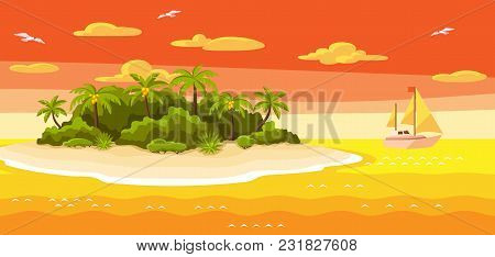Illustration Of Tropical Island In Ocean. Landscape With Ocean, Palm Trees And Yacht. Travel Backgro