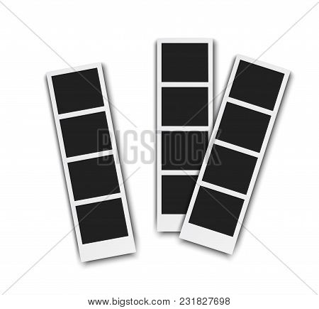 Photo Booth Pistures Isolated On White Background. Retro Photoframe With Shadow, Realistic Vector Il