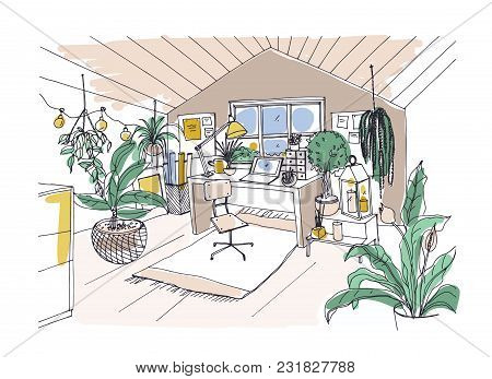Colored Sketch Of Cozy Cabinet, Mansard Or Attic Room Furnished In Trendy Scandinavian Hygge Style A
