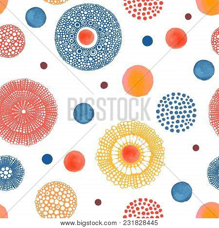 Abstract Summer Pattern With Hand Drawn And Watercolor Circles. Bright Vector Illustration. Seamless