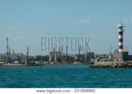 Burgas, Bulgaria - August 20, 2017: Lighthouse On The Front Of The Seaport Of Burgas. Burgas, Is The