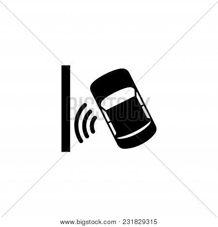 Automatic Parking Assist System. Flat Vector Icon. Simple Black Symbol On White Background