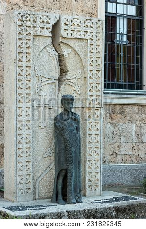 Burgas, Bulgaria - August 20, 2017: Monument To The Victims Of The Armenian Genocide In 1915. Armeni