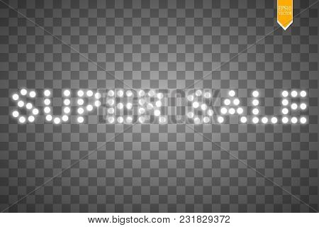 Vector Illustration With Glowing Text Sale. On The Transparent Backgraund.
