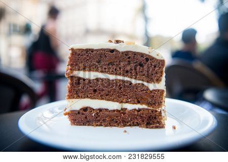 Cake Slice On White Plate In Paris, France, Dessert. Cake With Cream, Food. Temptation, Appetite Con