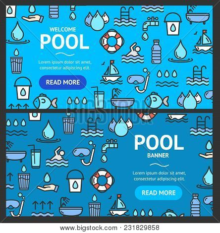 Pool And Water Signs Banner Horizontal Set With Color Outline Icons Include Of Purified Waterdrop. V