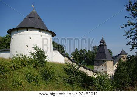 Towers of Pechorsky monastery in Pskov region Russia poster