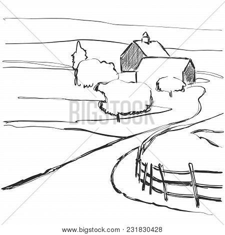 Village, Fields, Graphic Background Landscape Sketch Contryside