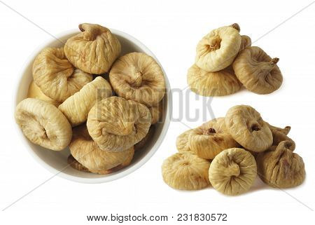 Collage Of Figs Isolated On White Background. Ripe Dried Fruit Close-up. Set Of Figs. Dried Figs Iso