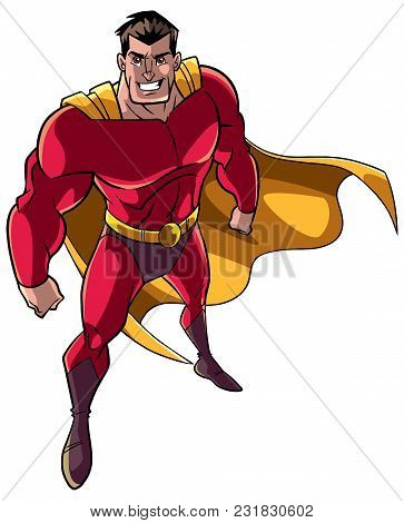 High-angle Full Length Illustration Of A Powerful And Determined Man Wearing Superhero Costume Durin
