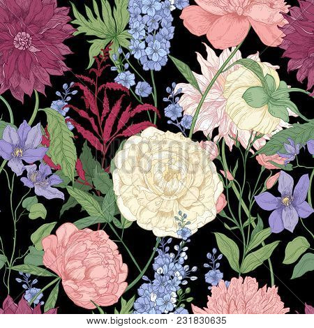Floral Seamless Pattern With Elegant Flowers And Flowering Plants Used In Floristry Hand Drawn On Bl
