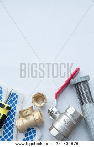 Various Plumbers Tools And Plumbing Materials Including Stainless Steel, Plastic And Copper Pipe, El