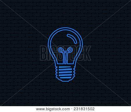 Neon Light. Light Bulb Icon. Lamp E27 Screw Socket Symbol. Illumination Sign. Glowing Graphic Design