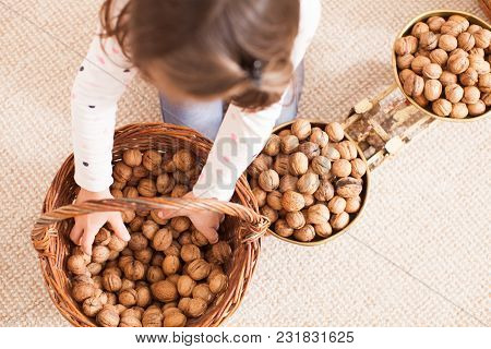 Cute Girl Are Weighing Some Nuts  In The Kindergarten