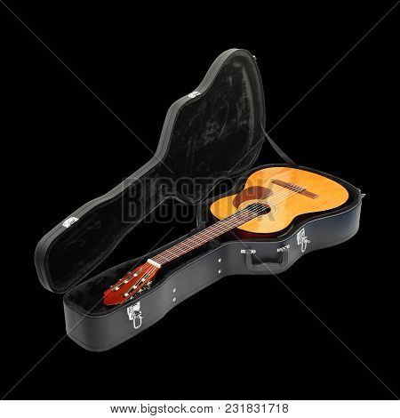 Musical Instrument - Classic Guitar Hard Case Isolated On A Black Background.