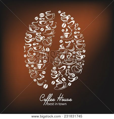 Coffee House Poster Of Coffee Bean With Got Coffee Cups Steam Icons. Vector Design Template Of Hot S