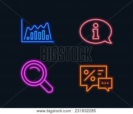 Neon Lights. Set Of Search, Infographic Graph And Information Icons. Discounts Sign. Magnifying Glas