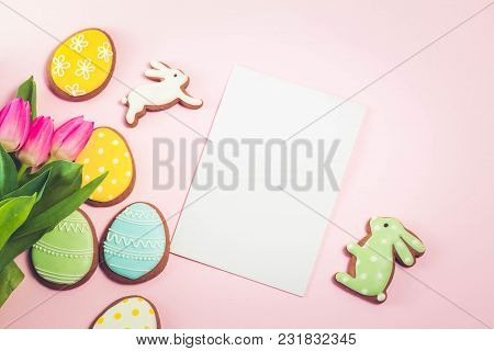 Eater Handmade Cookies On Pink Background With Copy Space On Paper Note, Retro Toned