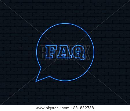 Neon Light. Faq Information Sign Icon. Help Speech Bubble Symbol. Glowing Graphic Design. Brick Wall