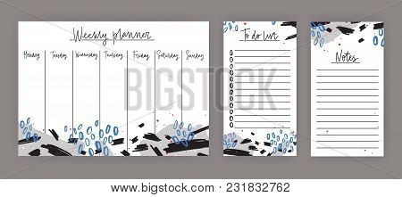 Weekly Planner With Weekdays, Sheet For Notes And To Do List Templates Decorated With Abstract Blue