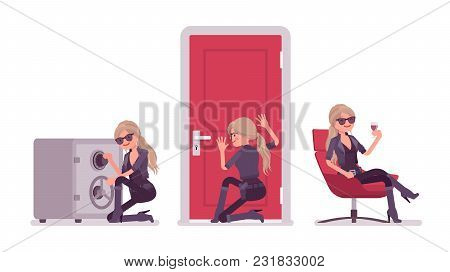 Secret Agent Woman, Lady Spy Of Intelligence Service, Watcher To Uncover Data, Collect Political Or
