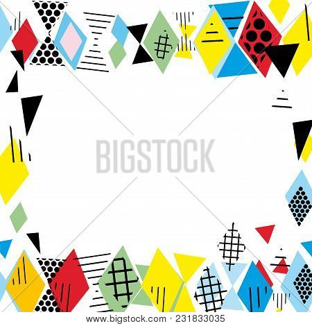 Card Banner Template Frame For Your Text. Geometric Memphis Postmodern Retro Fashion Style 80-90s. A
