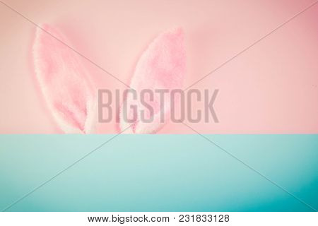 Easter Rabbit Ears On Pink Background With Copy Space, Retro Toned