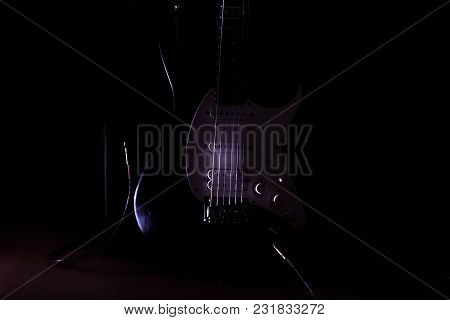 Electric Guitar With Strings In The Studio.