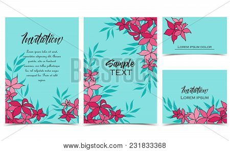 Vector Illustration Background With Pink Flowers. Set Of Greeting Cards